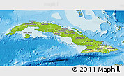 Physical 3D Map of Cuba, semi-desaturated, land only
