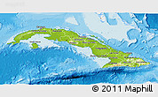 Physical 3D Map of Cuba, single color outside, bathymetry sea, shaded relief sea