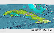 Physical 3D Map of Cuba, single color outside, satellite sea