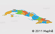 Political 3D Map of Cuba, cropped outside