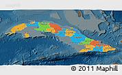 Political 3D Map of Cuba, darken