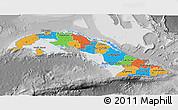 Political 3D Map of Cuba, desaturated