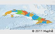 Political 3D Map of Cuba, lighten