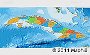 Political 3D Map of Cuba, satellite outside, bathymetry sea