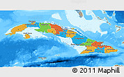 Political 3D Map of Cuba, semi-desaturated, land only