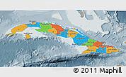 Political 3D Map of Cuba, semi-desaturated