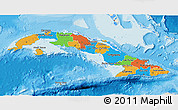 Political 3D Map of Cuba, shaded relief outside, bathymetry sea