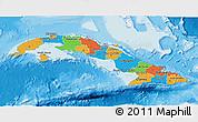 Political 3D Map of Cuba, single color outside