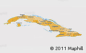 Political Shades 3D Map of Cuba, cropped outside