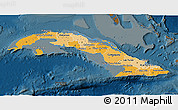 Political Shades 3D Map of Cuba, darken