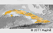 Political Shades 3D Map of Cuba, desaturated