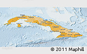 Political Shades 3D Map of Cuba, lighten