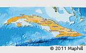 Political Shades 3D Map of Cuba, satellite outside, bathymetry sea