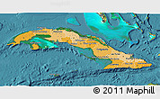 Political Shades 3D Map of Cuba, satellite outside