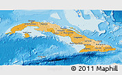 Political Shades 3D Map of Cuba, shaded relief outside, bathymetry sea