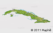 Satellite 3D Map of Cuba, cropped outside