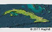 Satellite 3D Map of Cuba, darken