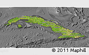 Satellite 3D Map of Cuba, desaturated