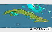 Satellite 3D Map of Cuba, lighten, land only