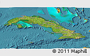 Satellite 3D Map of Cuba, political outside, satellite sea