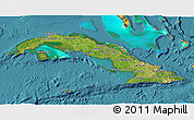 Satellite 3D Map of Cuba, political shades outside, satellite sea