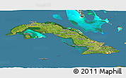 Satellite 3D Map of Cuba, semi-desaturated, land only