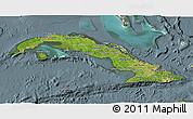 Satellite 3D Map of Cuba, semi-desaturated