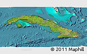 Satellite 3D Map of Cuba, shaded relief outside, satellite sea
