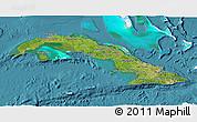 Satellite 3D Map of Cuba, single color outside