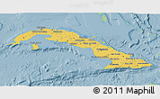 Savanna Style 3D Map of Cuba, single color outside