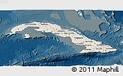 Shaded Relief 3D Map of Cuba, darken