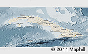 Shaded Relief 3D Map of Cuba, semi-desaturated