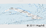 Silver Style 3D Map of Cuba, single color outside