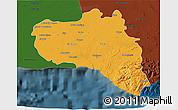 Political 3D Map of Cienfuegos, darken