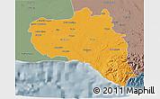 Political 3D Map of Cienfuegos, semi-desaturated