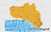 Political 3D Map of Cienfuegos, single color outside