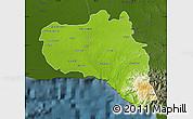 Physical Map of Cienfuegos, darken
