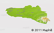 Physical Panoramic Map of Cienfuegos, cropped outside