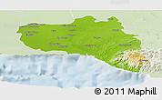 Physical Panoramic Map of Cienfuegos, lighten