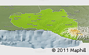 Physical Panoramic Map of Cienfuegos, semi-desaturated