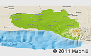 Physical Panoramic Map of Cienfuegos, shaded relief outside