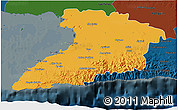 Political 3D Map of Granma, darken
