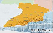 Political 3D Map of Granma, lighten
