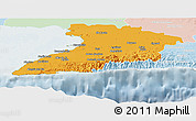 Political Panoramic Map of Granma, lighten