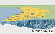 Savanna Style Panoramic Map of Granma, single color outside