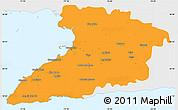 Political Simple Map of Granma, single color outside