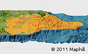 Political Panoramic Map of Guantanamo, satellite outside
