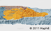 Political Panoramic Map of Guantanamo, semi-desaturated