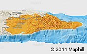 Political Panoramic Map of Guantanamo, shaded relief outside