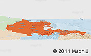 Political Panoramic Map of Holguin, lighten